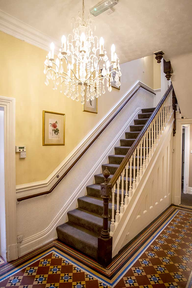 Welcoming entrance hall at Arlington House Care Home